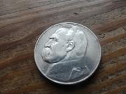5 злотых 1936 пилсудский Серебро